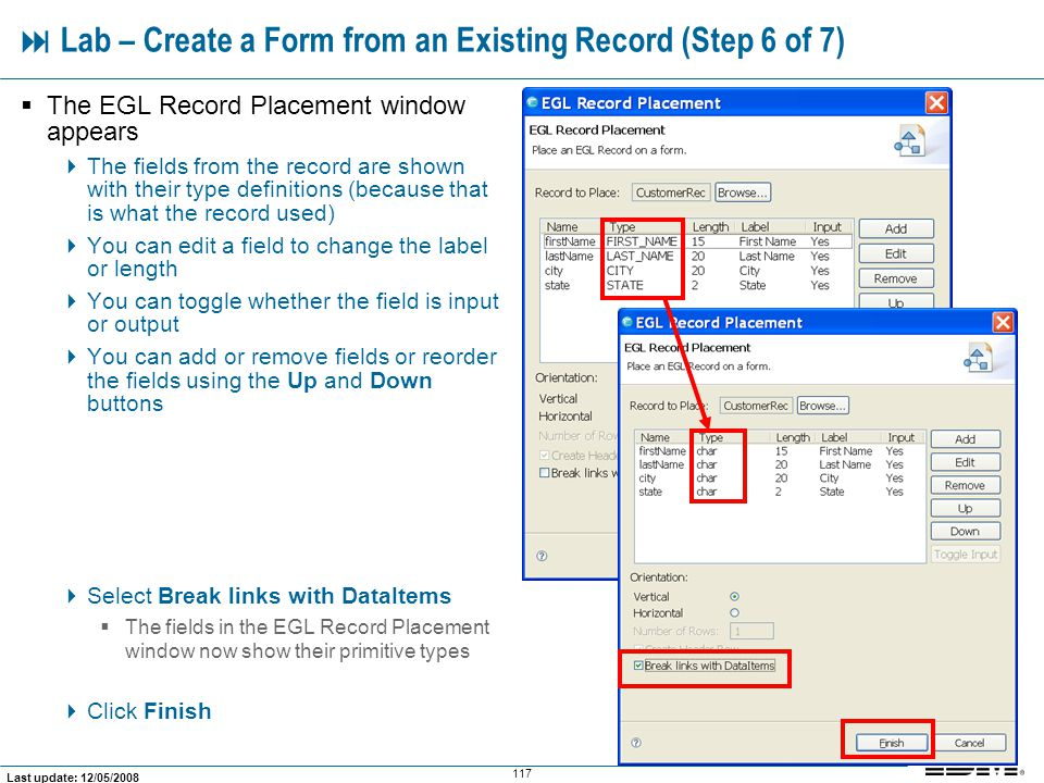  Lab – Create a Form from an Existing Record (Step 6 of 7)