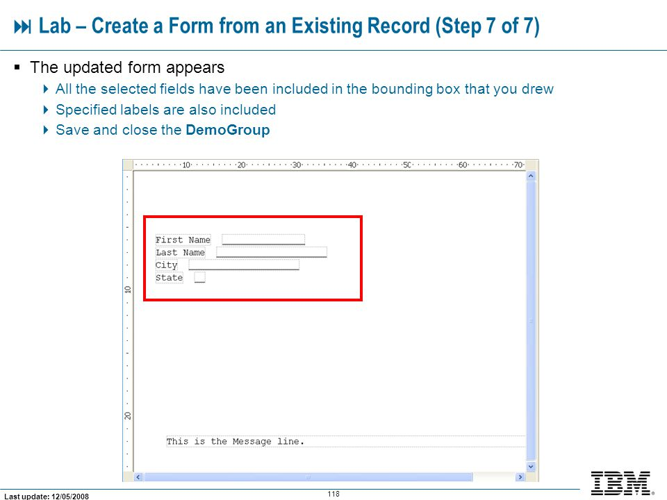  Lab – Create a Form from an Existing Record (Step 7 of 7)