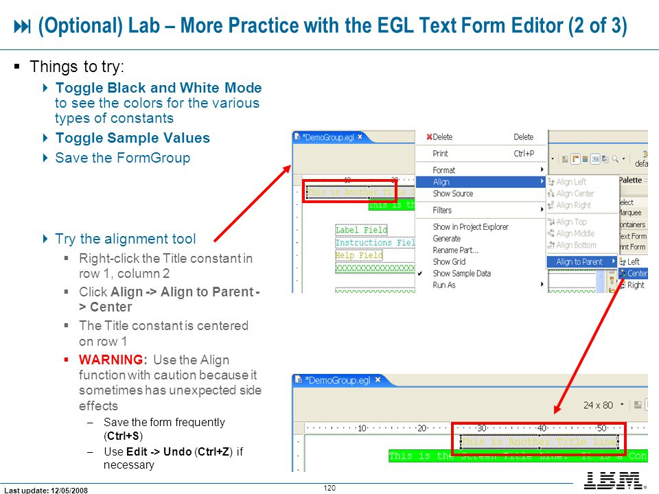  (Optional) Lab – More Practice with the EGL Text Form Editor (2 of 3)