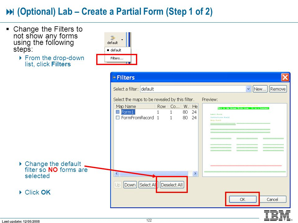  (Optional) Lab – Create a Partial Form (Step 1 of 2)