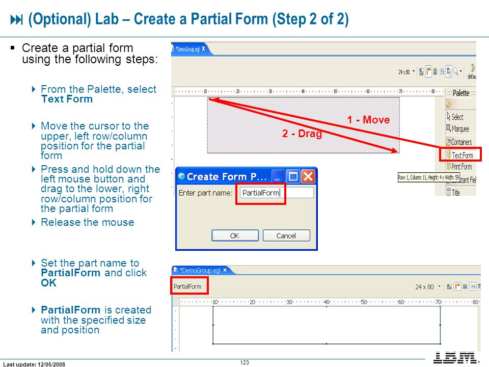  (Optional) Lab – Create a Partial Form (Step 2 of 2)
