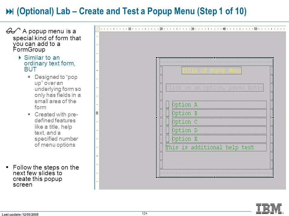  (Optional) Lab – Create and Test a Popup Menu (Step 1 of 10)