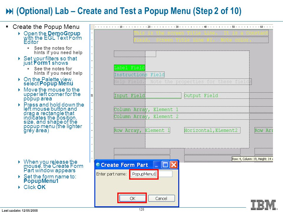  (Optional) Lab – Create and Test a Popup Menu (Step 2 of 10)