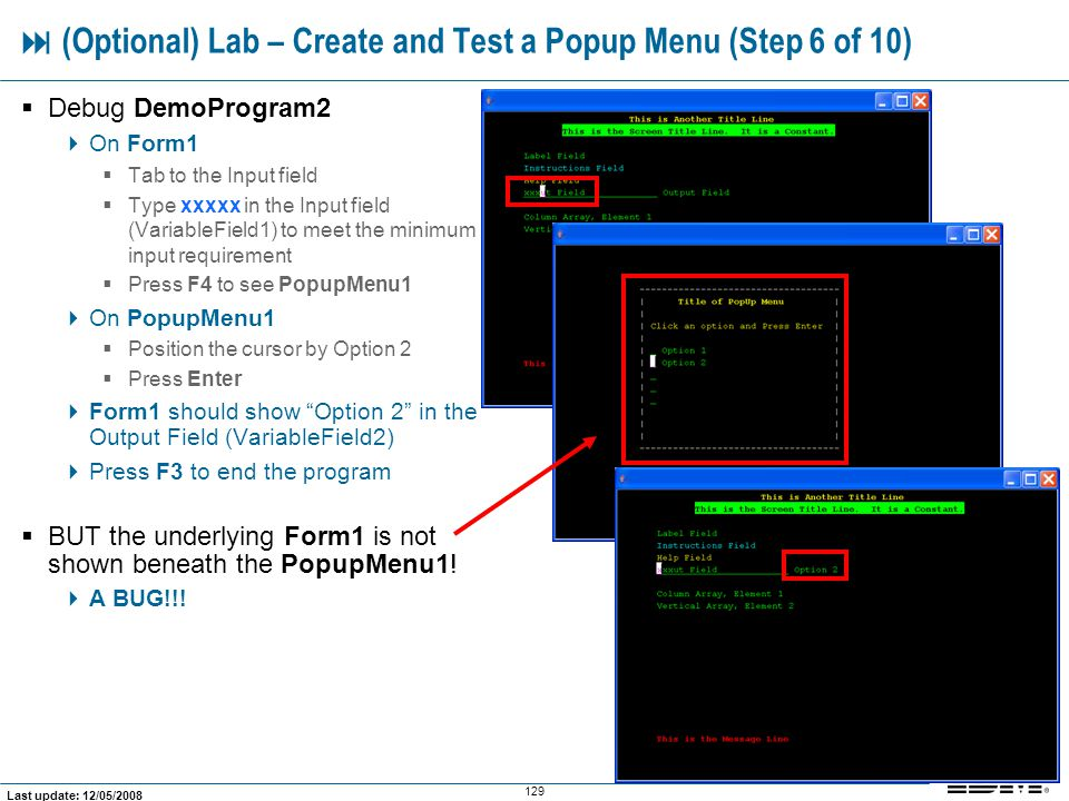  (Optional) Lab – Create and Test a Popup Menu (Step 6 of 10)