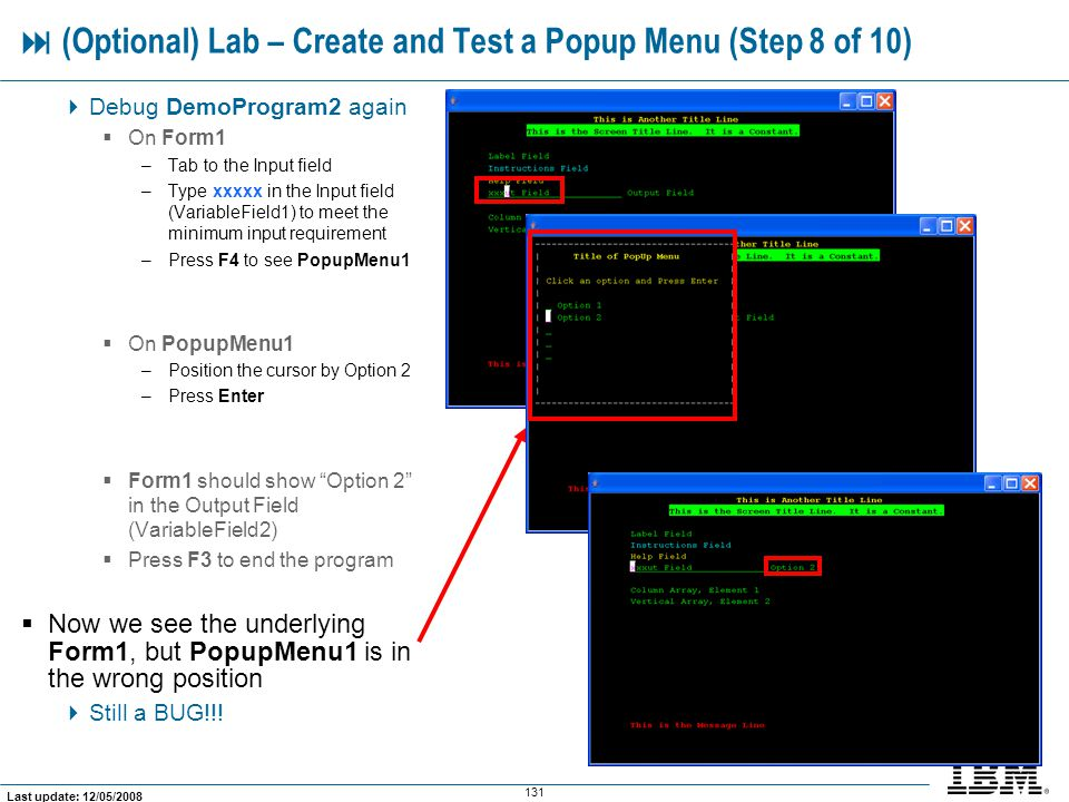  (Optional) Lab – Create and Test a Popup Menu (Step 8 of 10)