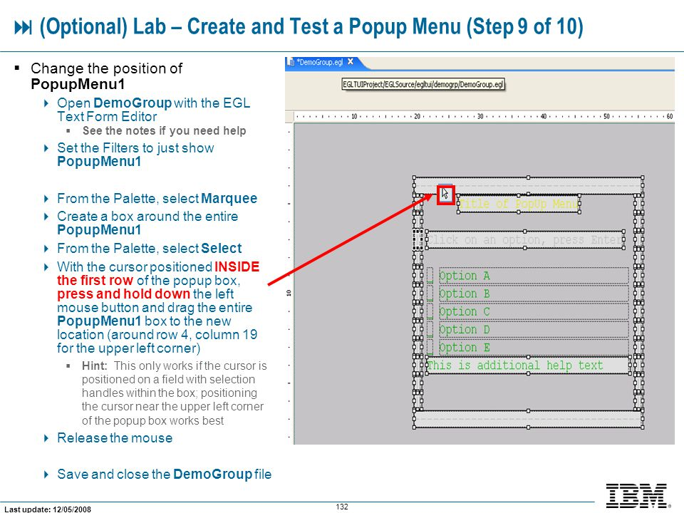  (Optional) Lab – Create and Test a Popup Menu (Step 9 of 10)