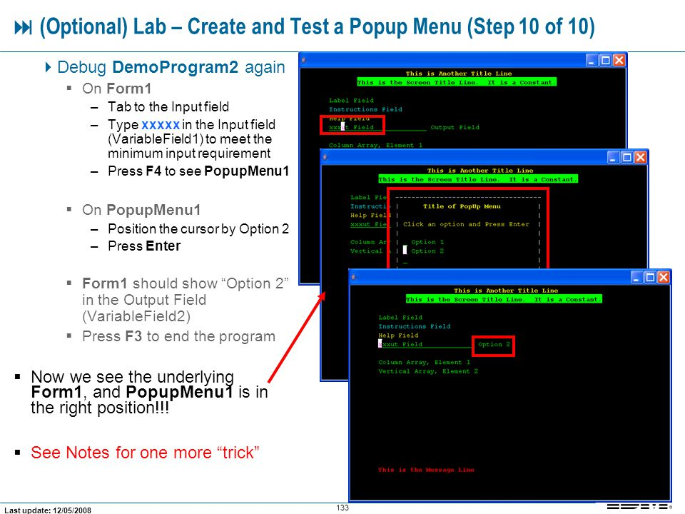  (Optional) Lab – Create and Test a Popup Menu (Step 10 of 10)