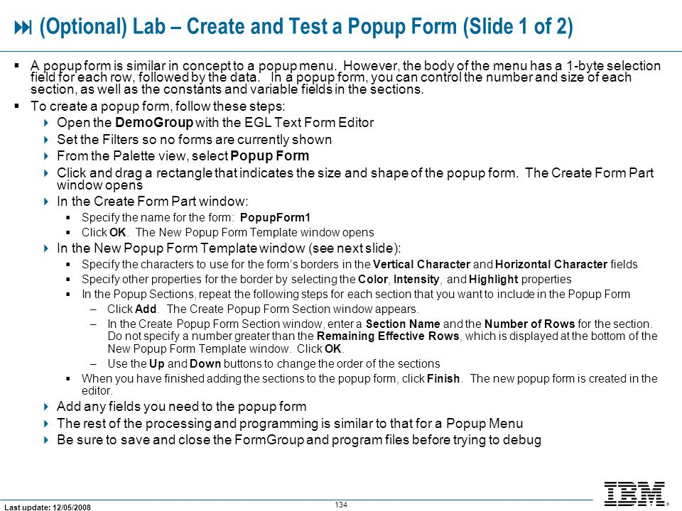  (Optional) Lab – Create and Test a Popup Form (Slide 1 of 2)