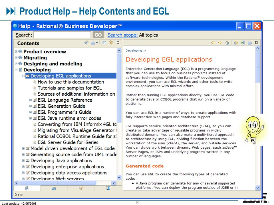  Product Help – Help Contents and EGL