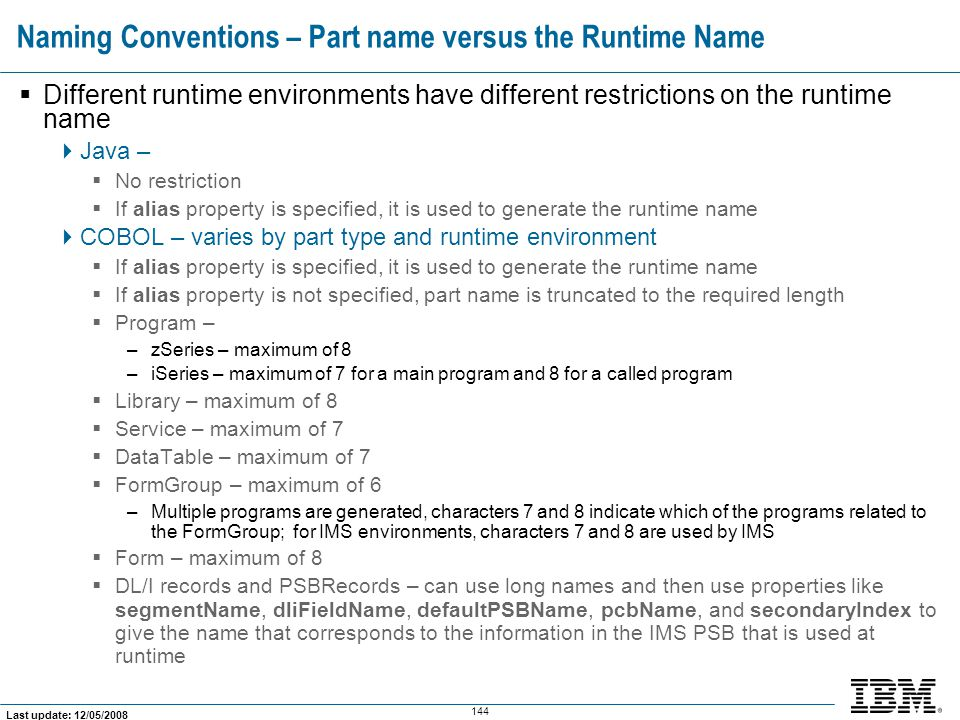 Naming Conventions – Part name versus the Runtime Name