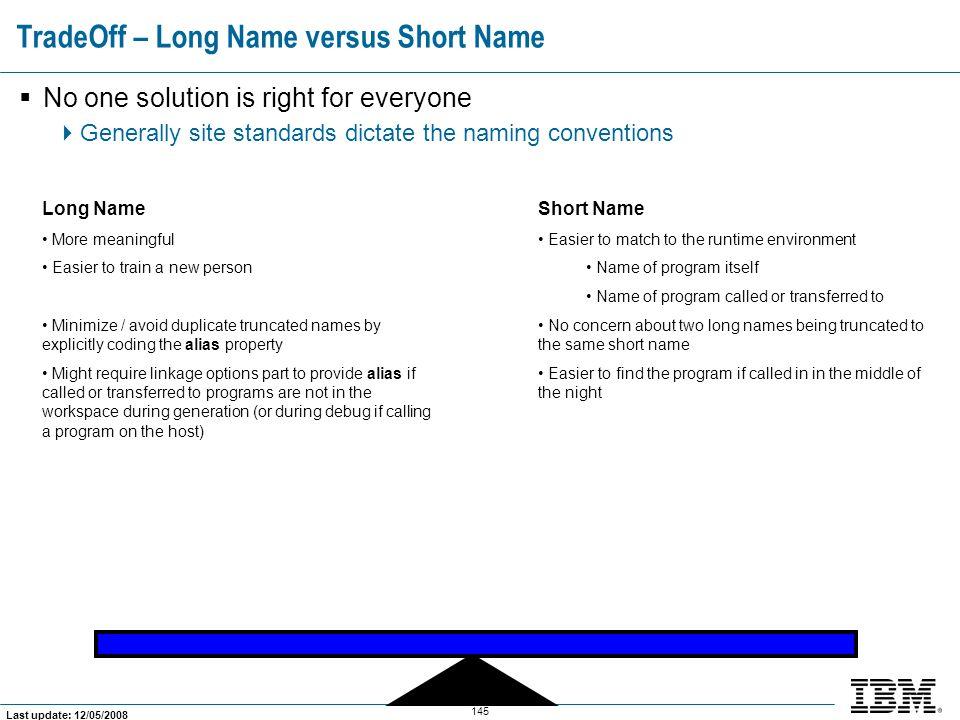 TradeOff – Long Name versus Short Name