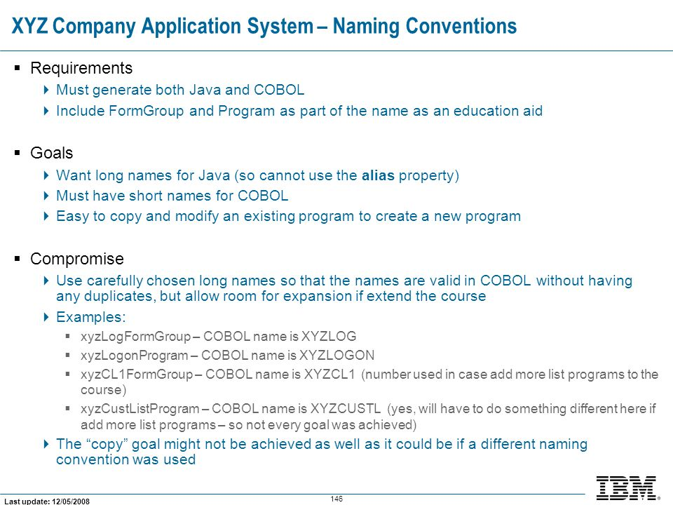 XYZ Company Application System – Naming Conventions