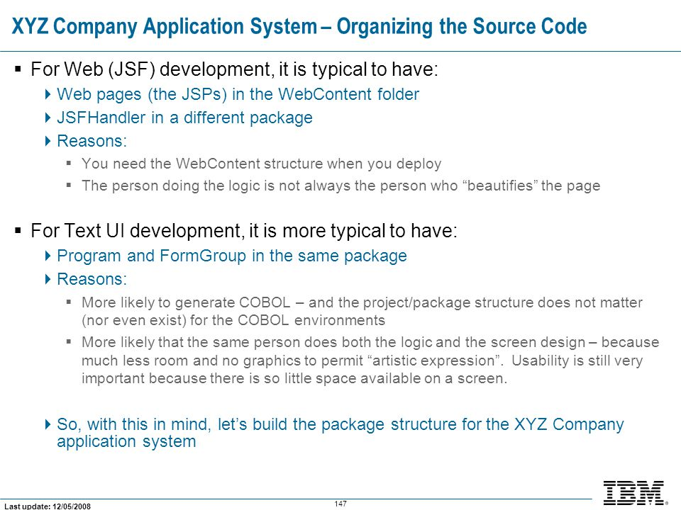 XYZ Company Application System – Organizing the Source Code