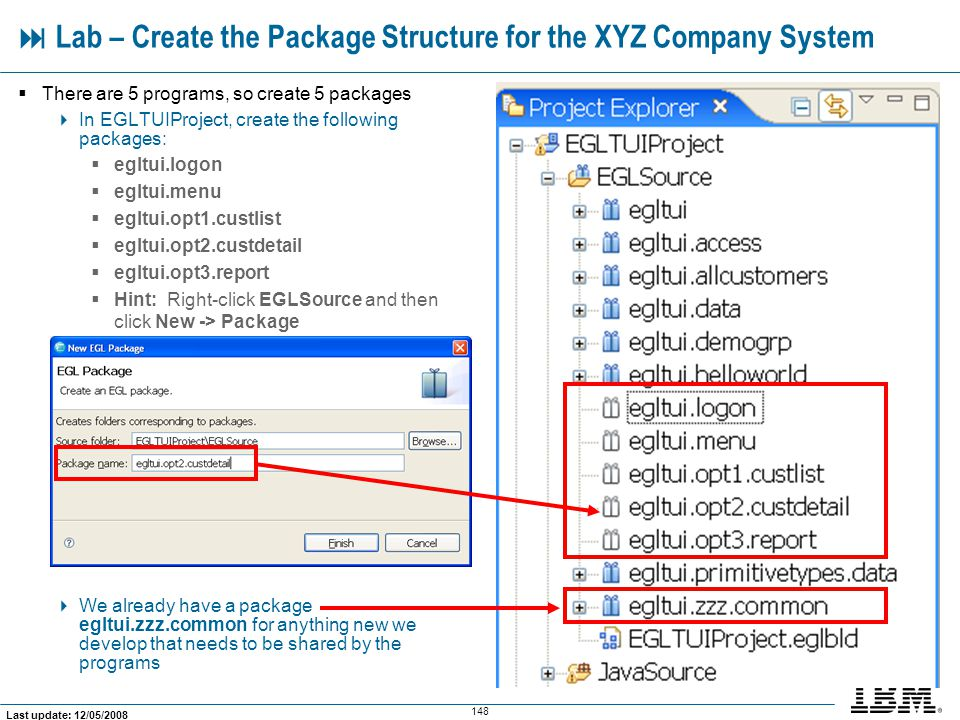  Lab – Create the Package Structure for the XYZ Company System