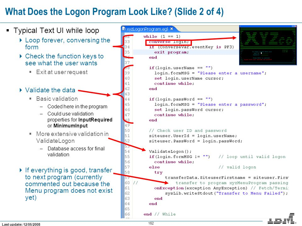 What Does the Logon Program Look Like (Slide 2 of 4)