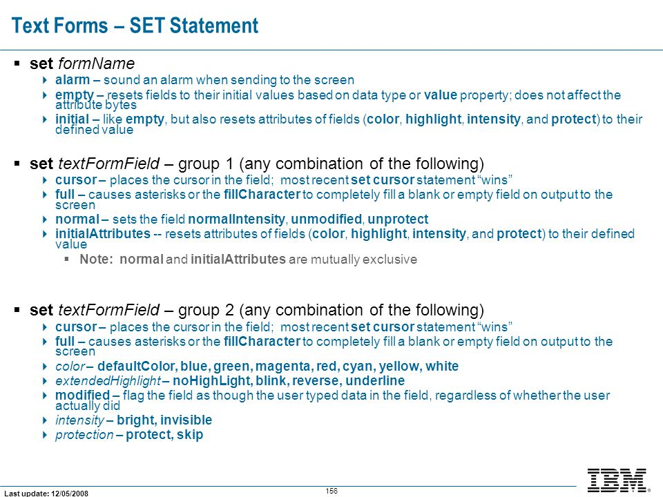 Text Forms – SET Statement