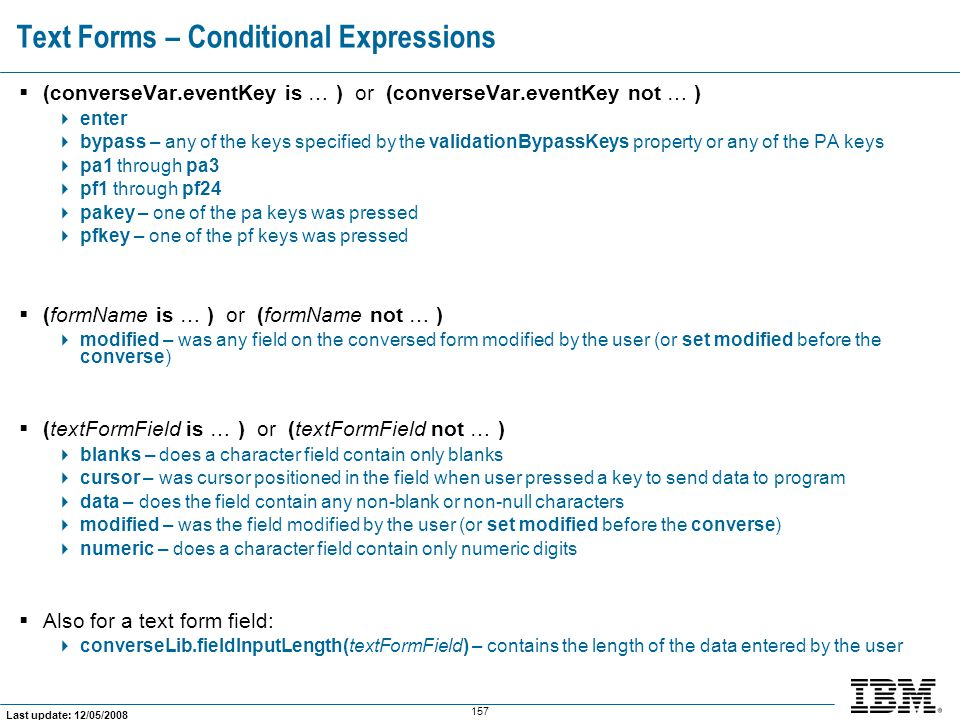 Text Forms – Conditional Expressions