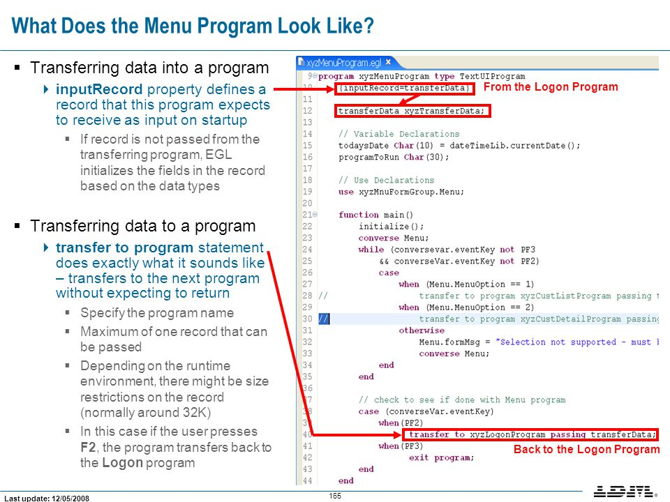 What Does the Menu Program Look Like