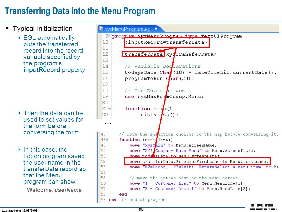 Transferring Data into the Menu Program