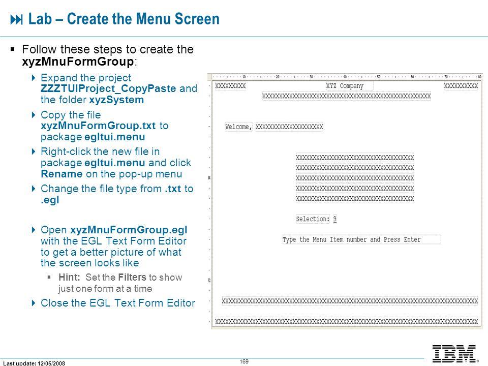  Lab – Create the Menu Screen