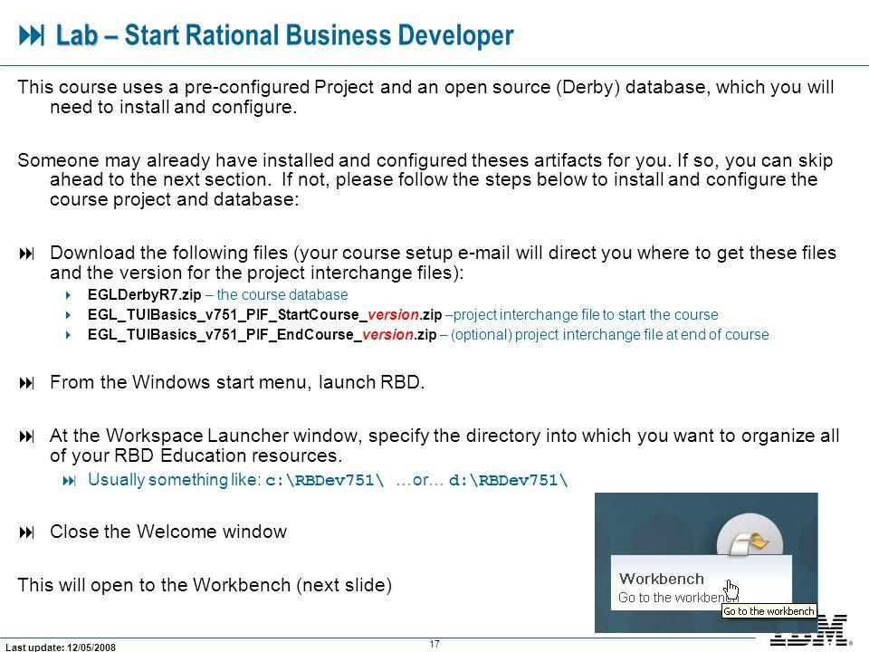  Lab – Start Rational Business Developer