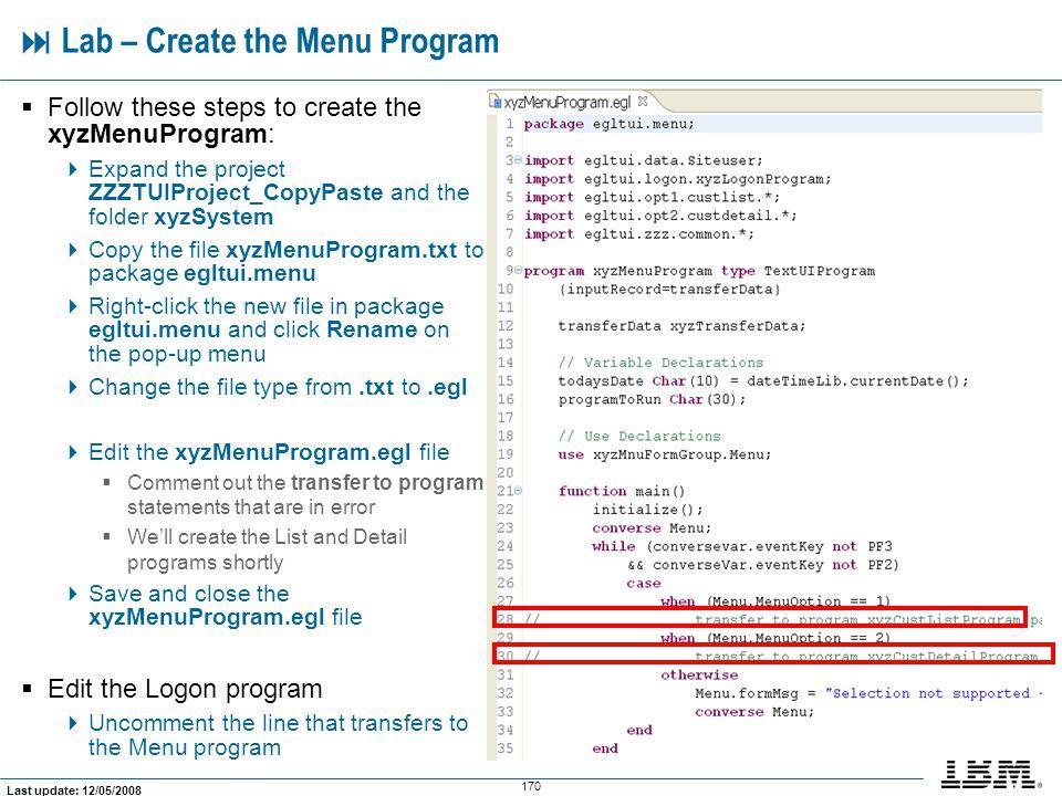  Lab – Create the Menu Program