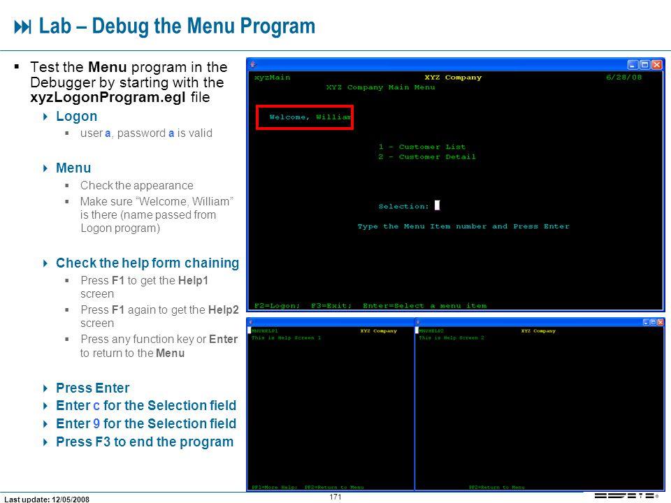  Lab – Debug the Menu Program