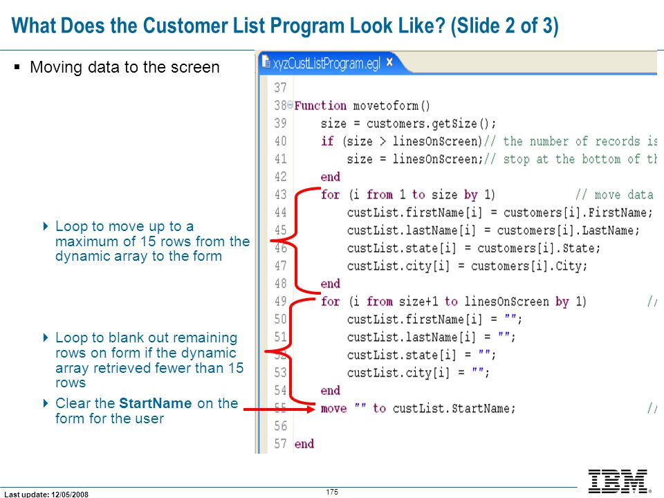 What Does the Customer List Program Look Like (Slide 2 of 3)