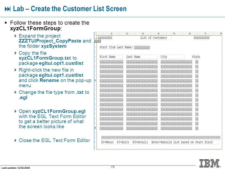  Lab – Create the Customer List Screen