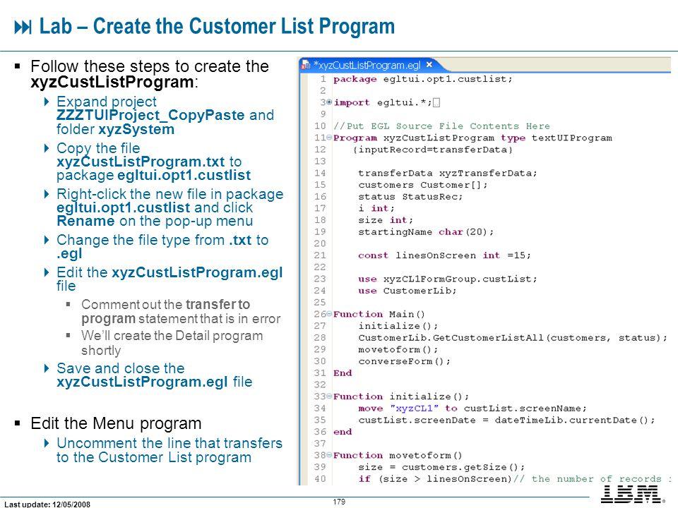  Lab – Create the Customer List Program