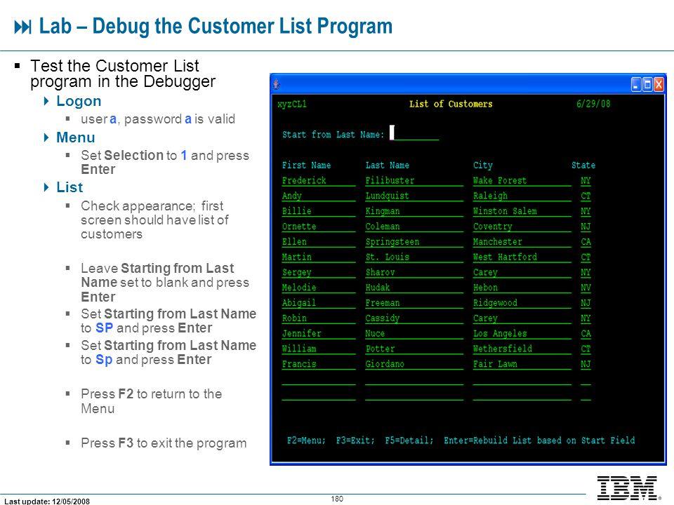  Lab – Debug the Customer List Program