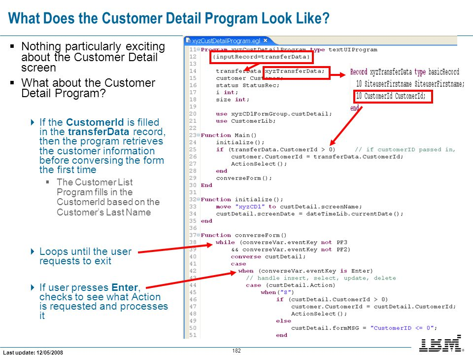 What Does the Customer Detail Program Look Like
