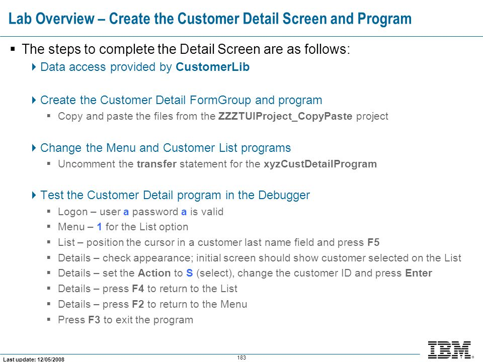 Lab Overview – Create the Customer Detail Screen and Program