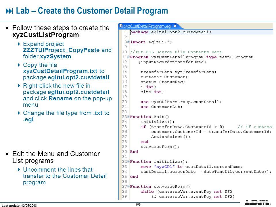  Lab – Create the Customer Detail Program
