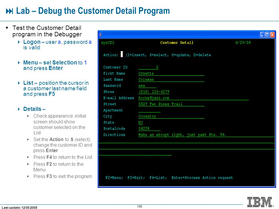  Lab – Debug the Customer Detail Program