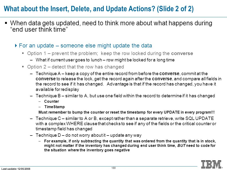 What about the Insert, Delete, and Update Actions (Slide 2 of 2)