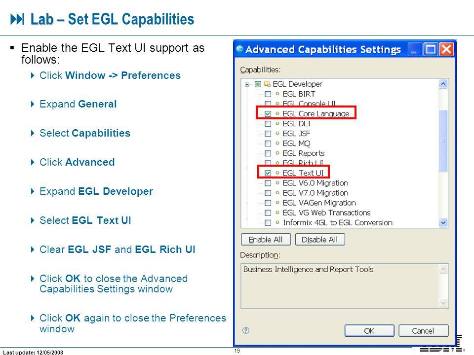  Lab – Set EGL Capabilities