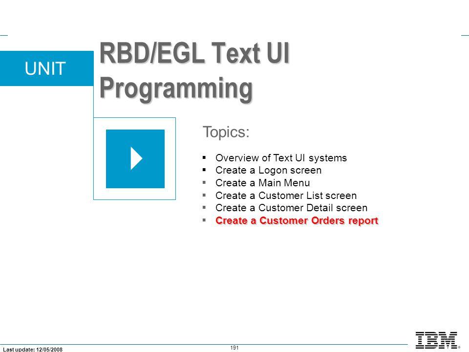 RBD/EGL Text UI Programming