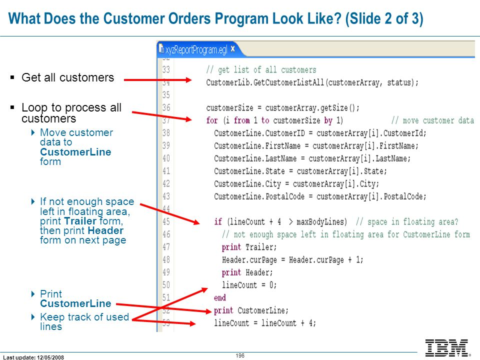 What Does the Customer Orders Program Look Like (Slide 2 of 3)