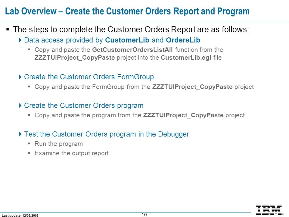 Lab Overview – Create the Customer Orders Report and Program