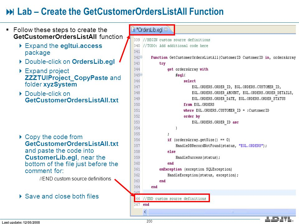  Lab – Create the GetCustomerOrdersListAll Function