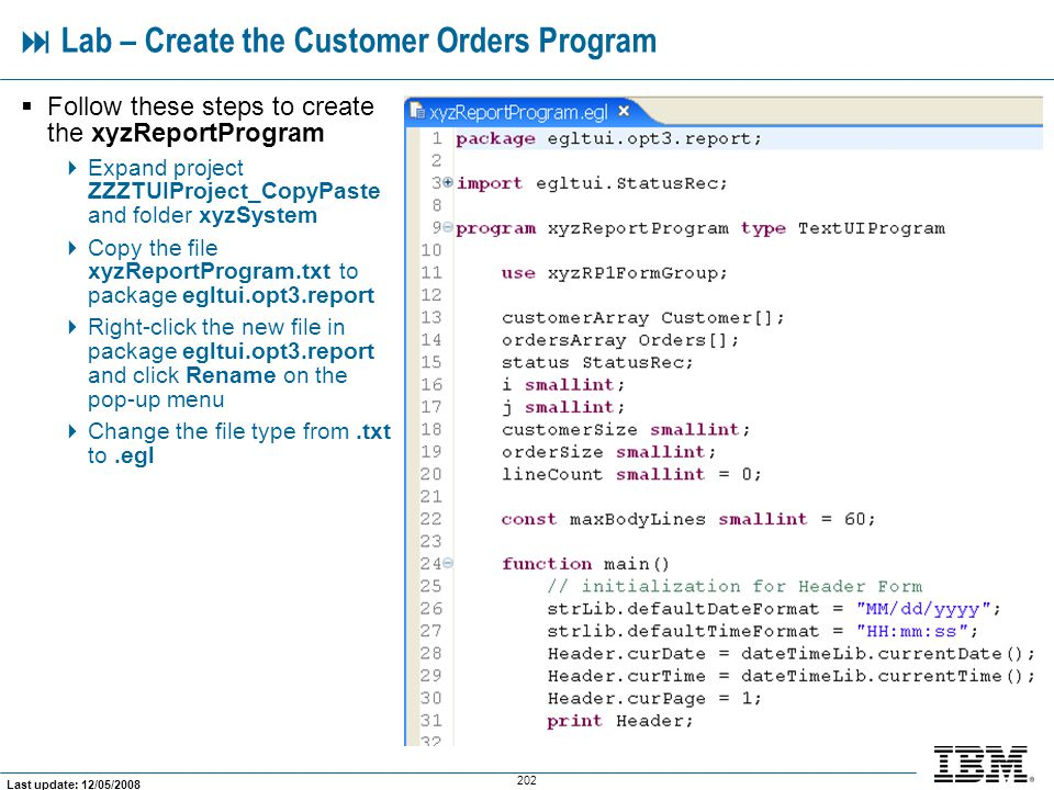  Lab – Create the Customer Orders Program