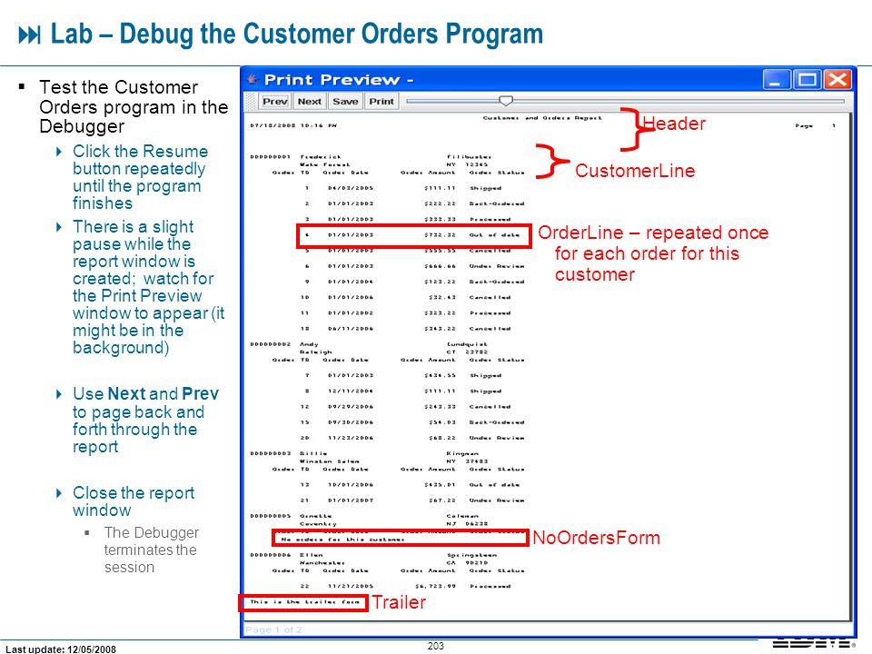  Lab – Debug the Customer Orders Program