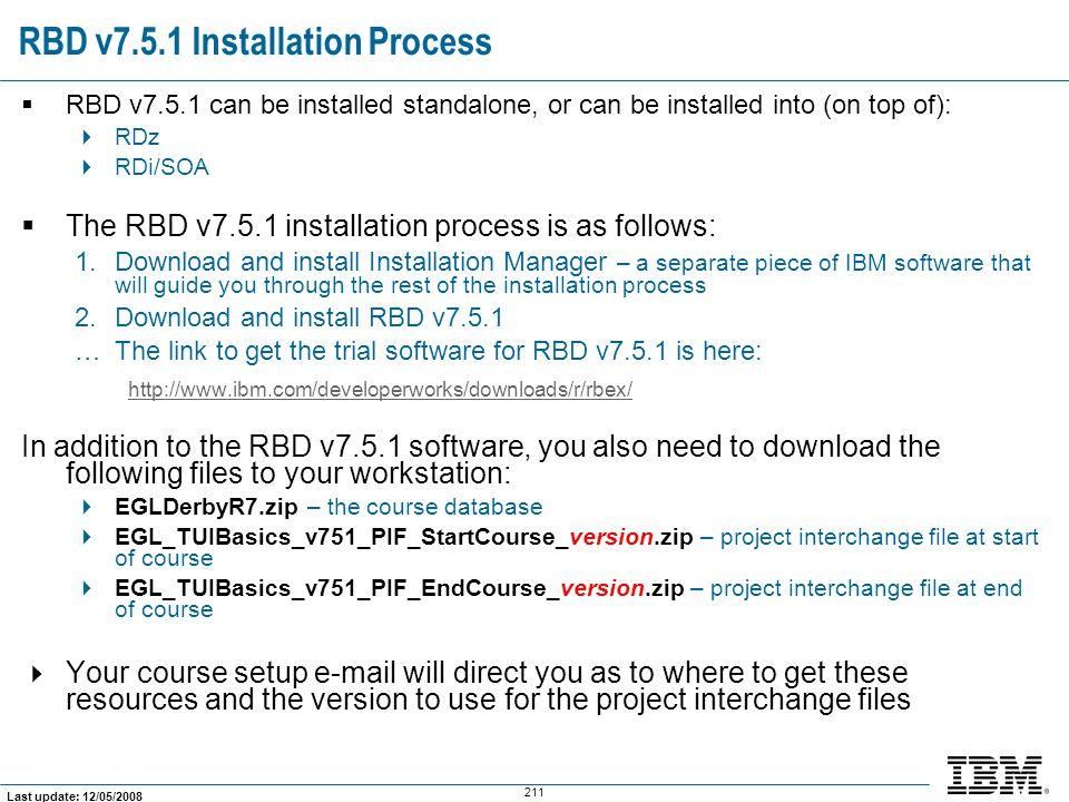 RBD v7.5.1 Installation Process