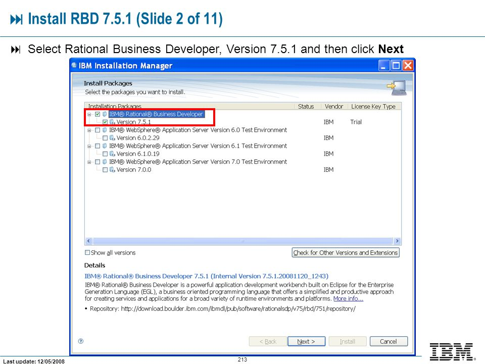  Install RBD 7.5.1 (Slide 2 of 11)