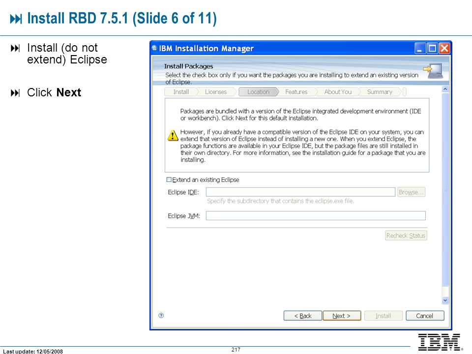  Install RBD 7.5.1 (Slide 6 of 11)