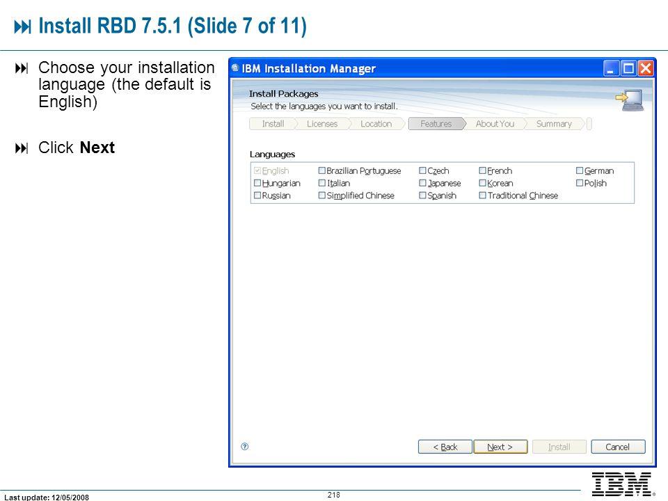  Install RBD 7.5.1 (Slide 7 of 11)