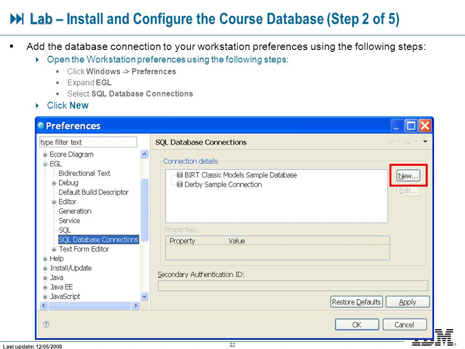  Lab – Install and Configure the Course Database (Step 2 of 5)