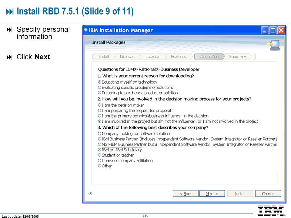  Install RBD 7.5.1 (Slide 9 of 11)
