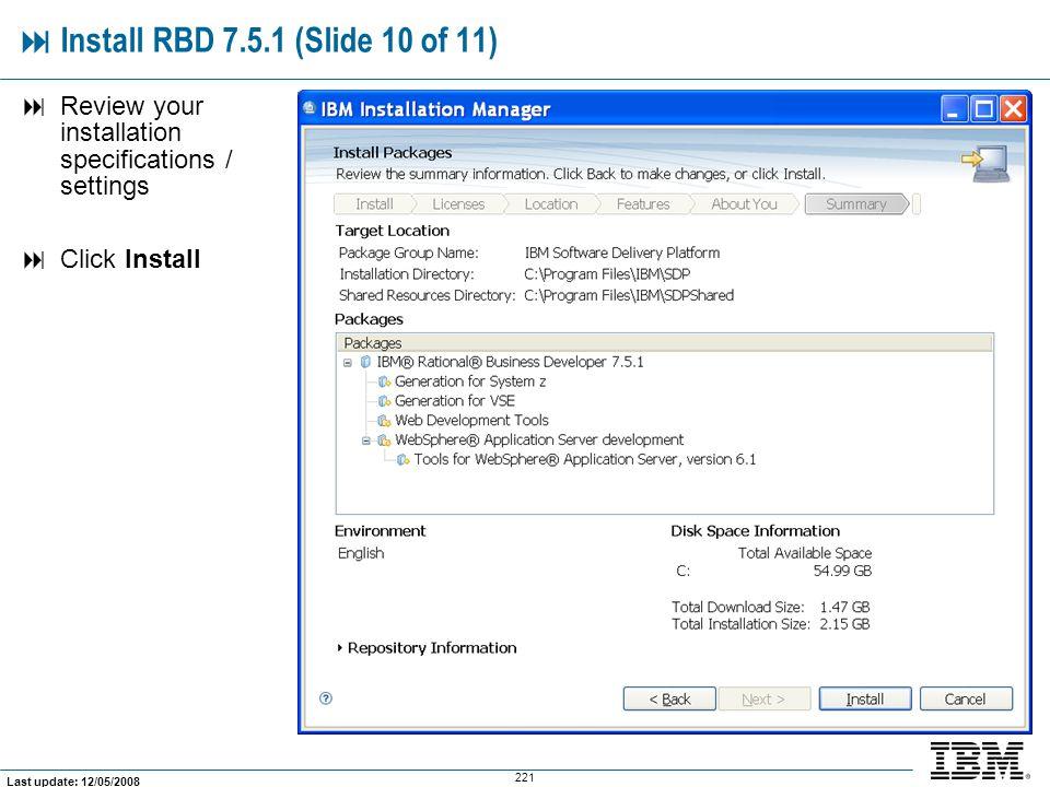  Install RBD 7.5.1 (Slide 10 of 11)
